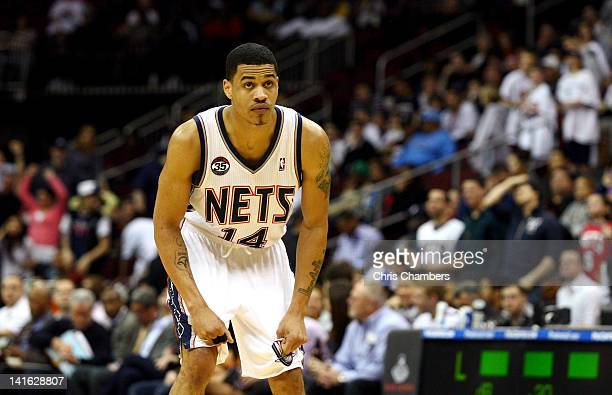Gerald Green of the New Jersey Nets looks on against the Cleveland Cavaliers at Prudential Center on March 19 2012 in Newark New Jersey NOTE TO USER...
