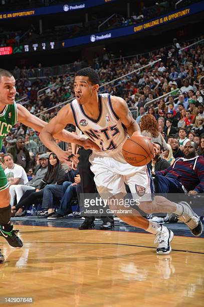 Gerald Green of the New Jersey Nets moves the ball against the Boston Celtics on April 14 2012 at the Prudential Center in Newark New Jersey NOTE TO...