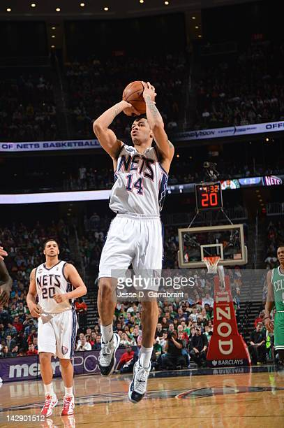 Gerald Green of the New Jersey Nets shoots against the Boston Celtics on April 14 2012 at the Prudential Center in Newark New Jersey NOTE TO USER...