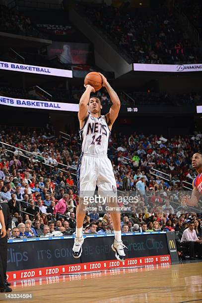 Gerald Green of the New Jersey Nets shoots against the Philadelphia 76ers during the game on April 23 2012 at the Prudential Center in Newark New...