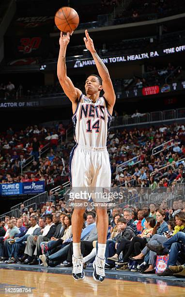 Gerald Green of the New Jersey Nets takes a jump shot during the game against the Cleveland Cavaliers on April 8 2012 at the Prudential Center in...