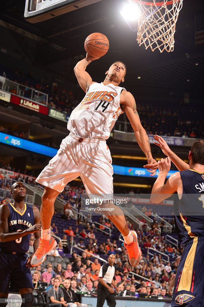 <a gi-track='captionPersonalityLinkClicked' href=/galleries/search?phrase=Gerald+Green&family=editorial&specificpeople=644655 ng-click='$event.stopPropagation()'>Gerald Green</a> #14 of the Phoenix Suns dunks against the New Orleans Pelicans on November 10, 2013 at U.S. Airways Center in Phoenix, Arizona.