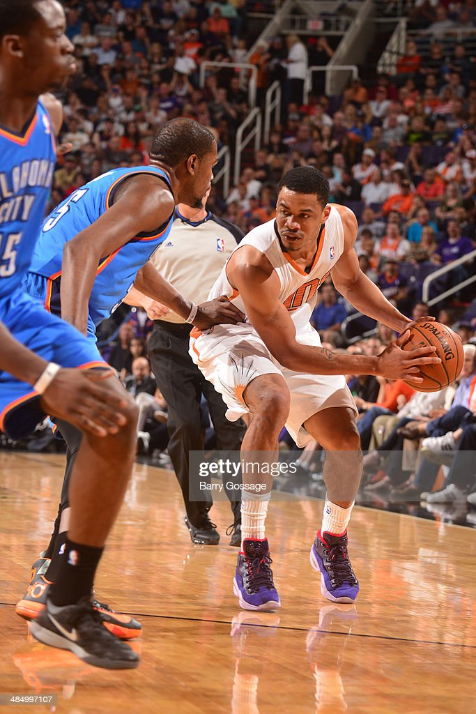 Gerald Green #14 of the Phoenix Suns handles the ball against the Oklahoma City Thunder on April 6, 2014 at U.S. Airways Center in Phoenix, Arizona.