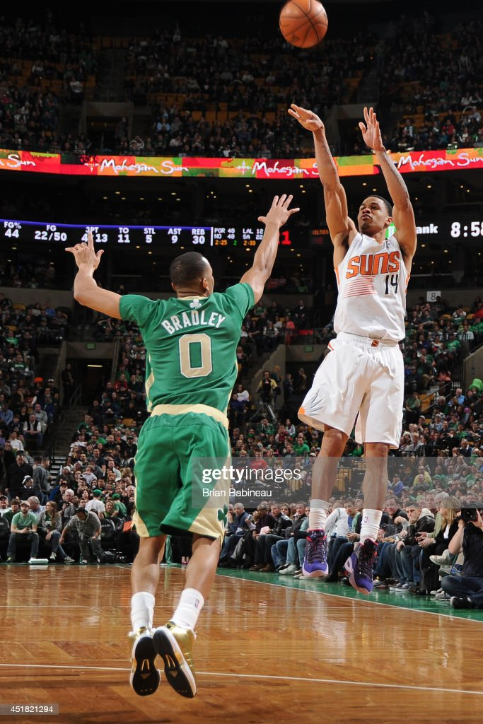<a gi-track='captionPersonalityLinkClicked' href=/galleries/search?phrase=Gerald+Green&family=editorial&specificpeople=644655 ng-click='$event.stopPropagation()'>Gerald Green</a> #14 of the Phoenix Suns takes a shot against the Boston Celtics on March 14, 2014 at the TD Garden in Boston, Massachusetts.