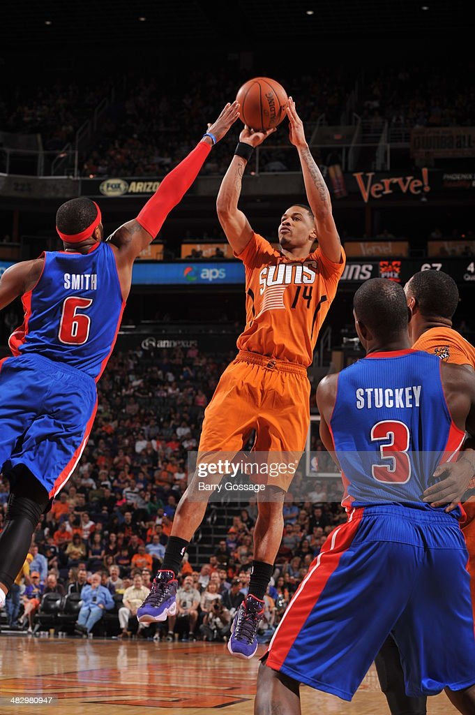 <a gi-track='captionPersonalityLinkClicked' href=/galleries/search?phrase=Gerald+Green&family=editorial&specificpeople=644655 ng-click='$event.stopPropagation()'>Gerald Green</a> #14 of the Phoenix Suns takes a shot against the Detroit Pistons on March 21, 2014 at U.S. Airways Center in Phoenix, Arizona.