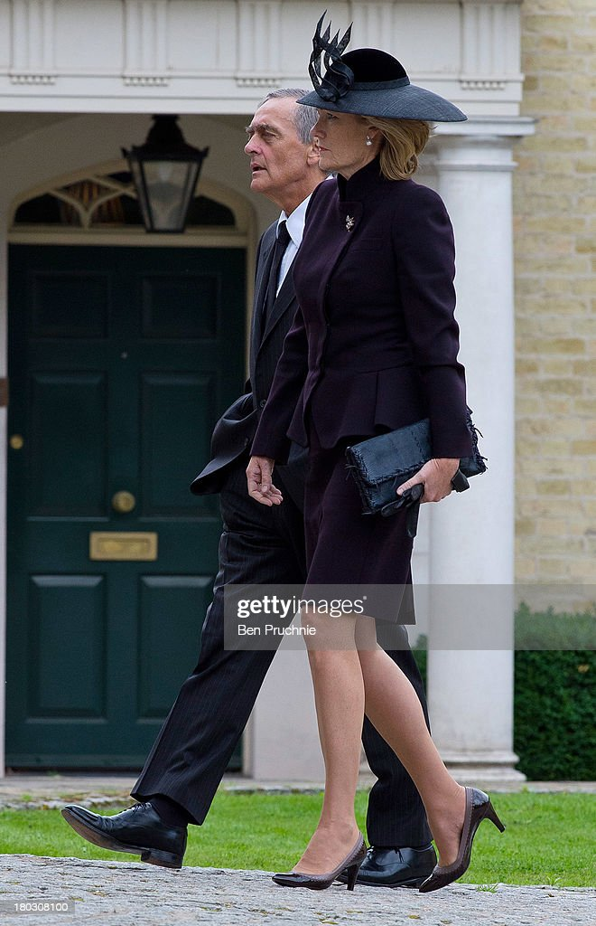 Gerald Grosvenor, Duke Of Westminster (L) and Natalia Grosvenor, Duchess of Westminster attend a requiem mass for Hugh van Cutsem who passed away on September 2nd 2013 at Brentwood Cathedral on September 11, 2013 in Brentwood, England.