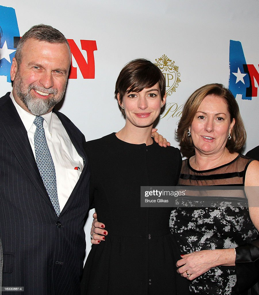 Gerald Hathaway, daughter <a gi-track='captionPersonalityLinkClicked' href=/galleries/search?phrase=Anne+Hathaway+-+Actress&family=editorial&specificpeople=11647173 ng-click='$event.stopPropagation()'>Anne Hathaway</a> and mother Producer Kate McCauley Hathaway attend the opening night of 'Ann' at Vivian Beaumont Theatre at Lincoln Center on March 7, 2013 in New York City.