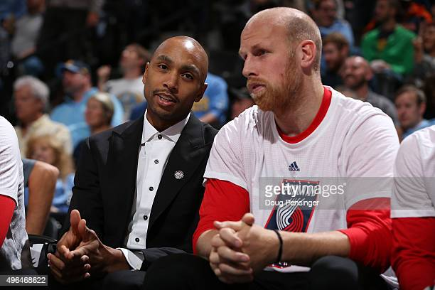 Gerald Henderson and Chris Kaman of the Portland Trail Blazers talk on the bench as they face the Denver Nuggets at Pepsi Center on November 9 2015...