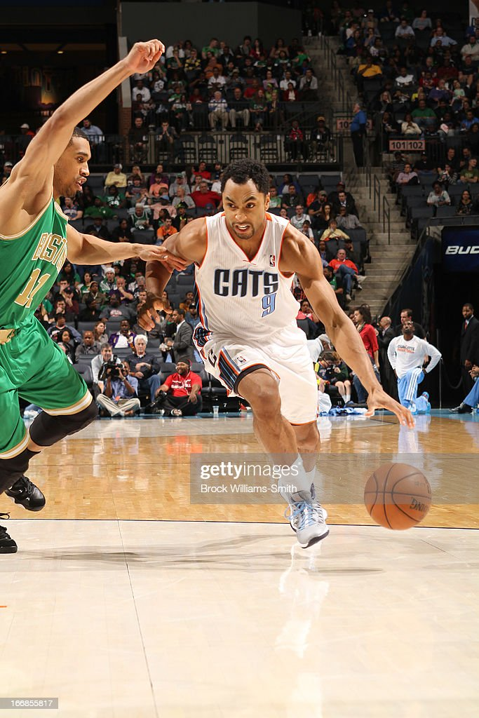 Gerald Henderson #9 of the Charlotte Bobcats dribbles the ball to the rim against the Boston Celtics at the Time Warner Cable Arena on March 12, 2013 in Charlotte, North Carolina.