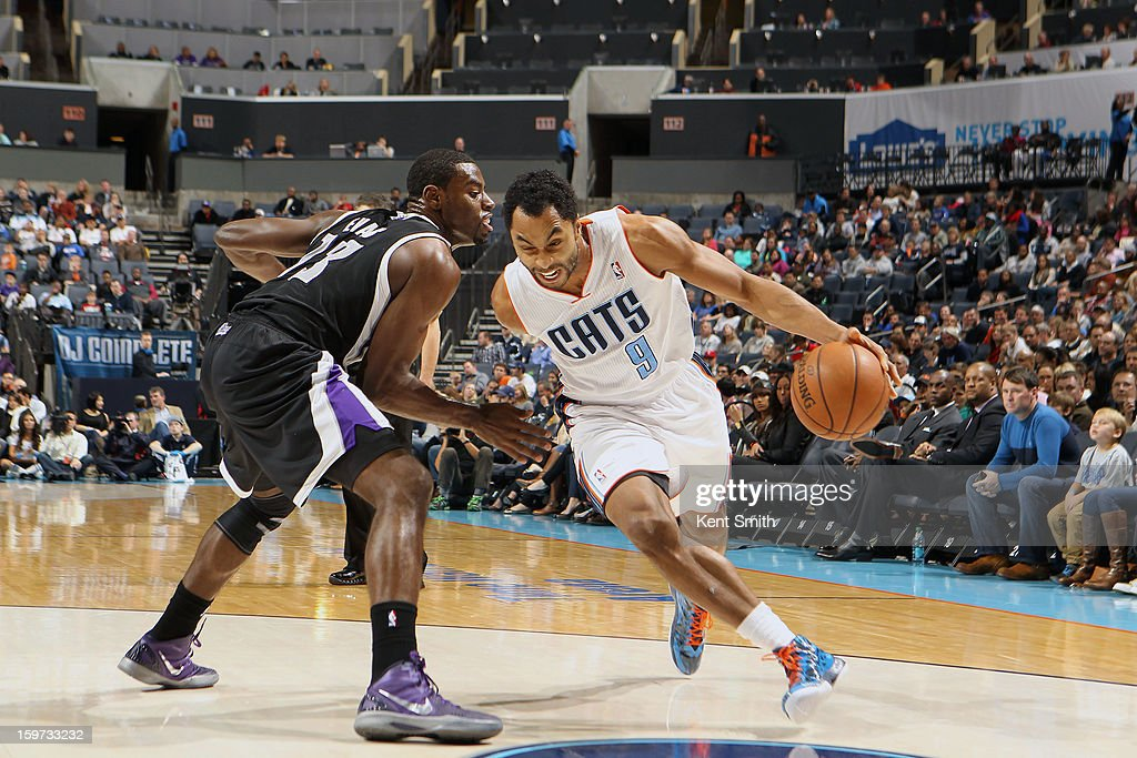 Gerald Henderson #9 of the Charlotte Bobcats drives against Tyreke Evans #13 of the Sacramento Kings at the Time Warner Cable Arena on January 19, 2013 in Charlotte, North Carolina.