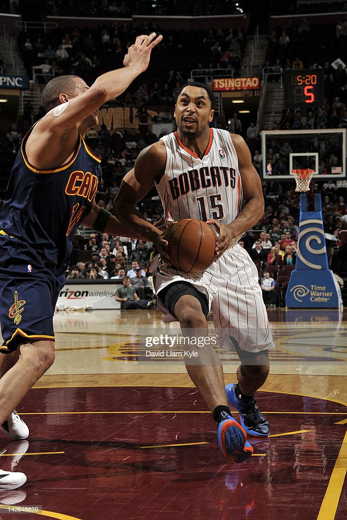 Gerald Henderson #15 of the Charlotte Bobcats drives to the basket against Anthony Parker #18 of the Cleveland Cavaliers at The Quicken Loans Arena on April 10, 2012 in Cleveland, Ohio.