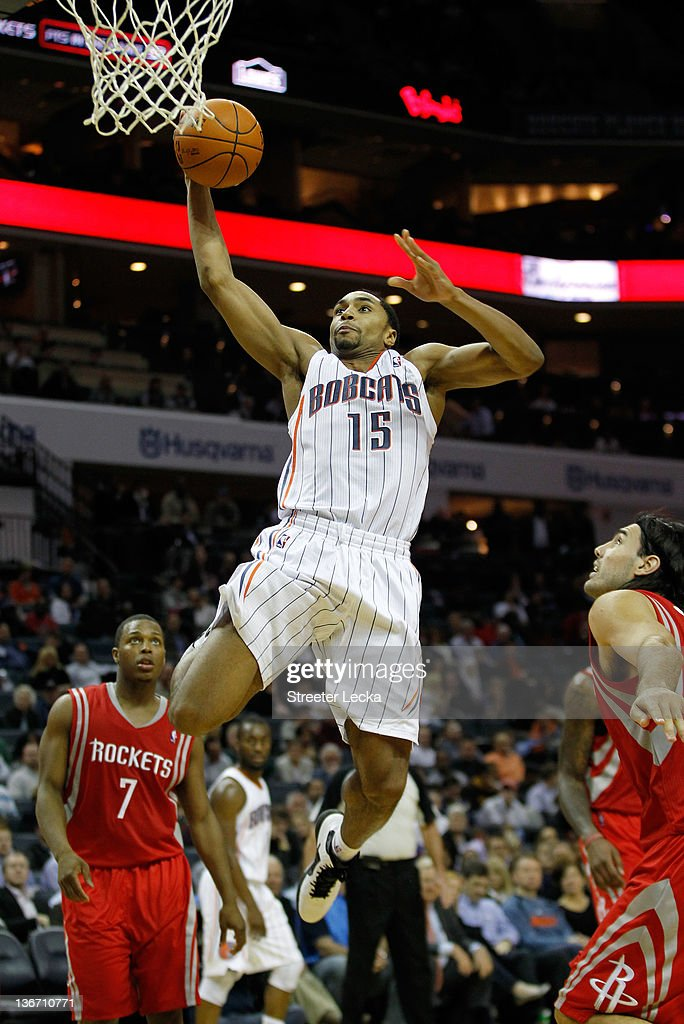 Gerald Henderson #15 of the Charlotte Bobcats drives to the basket on the Houston Rockets during their game at Time Warner Cable Arena on January 10, 2012 in Charlotte, North Carolina.