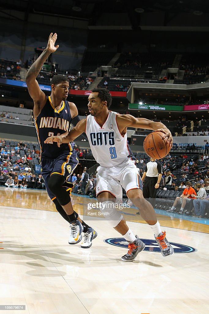 Gerald Henderson #9 of the Charlotte Bobcats drives to the basket against the Indiana Pacers at the Time Warner Cable Arena on January 15, 2013 in Charlotte, North Carolina.
