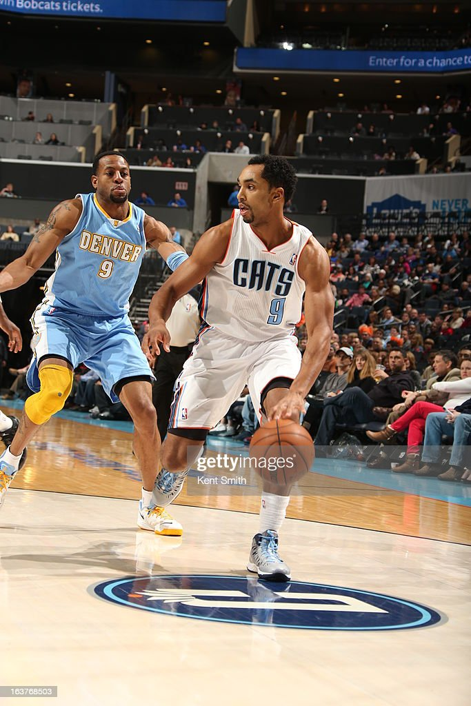 Gerald Henderson #9 of the Charlotte Bobcats drives to the basket against the Denver Nuggets at the Time Warner Cable Arena on February 23, 2013 in Charlotte, North Carolina.