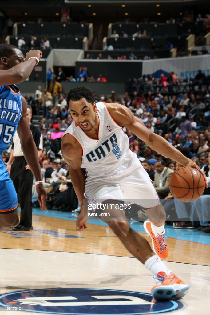 Gerald Henderson #9 of the Charlotte Bobcats drives to the basket against the Oklahoma City Thunder at the Time Warner Cable Arena on March 8, 2013 in Charlotte, North Carolina.