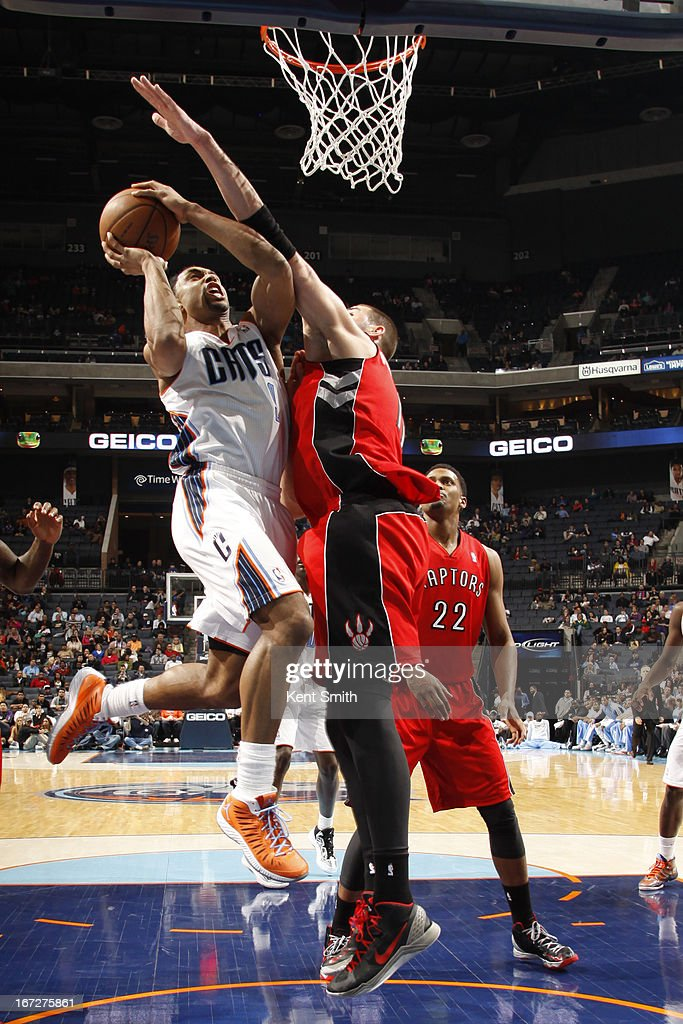 Gerald Henderson #9 of the Charlotte Bobcats drives to the basket against the Toronto Raptor at the Time Warner Cable Arena on March 20, 2013 in Charlotte, North Carolina.