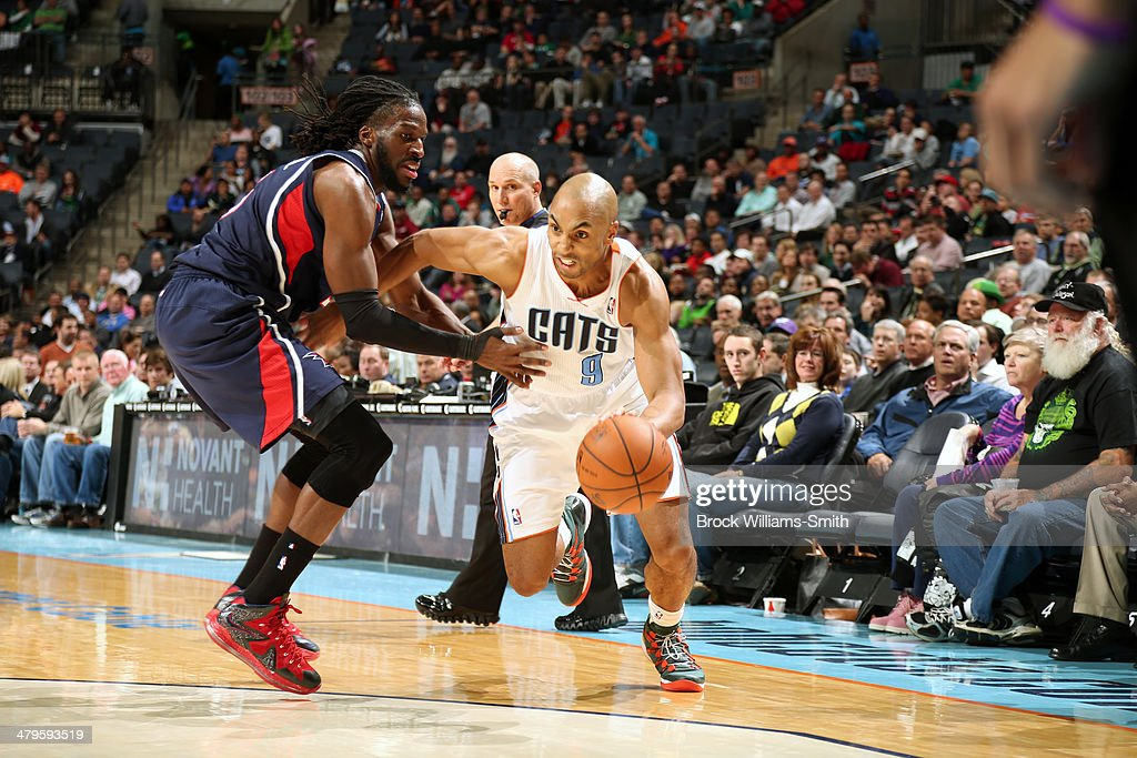 Gerald Henderson #9 of the Charlotte Bobcats drives to the basket against the Atlanta Hawks during the game at the Time Warner Cable Arena on March 17, 2014 in Charlotte, North Carolina.