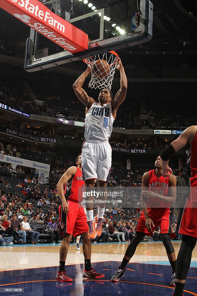 Gerald Henderson #9 of the Charlotte Bobcats dunks against the Toronto Raptors at the Time Warner Cable Arena on March 20, 2013 in Charlotte, North Carolina.