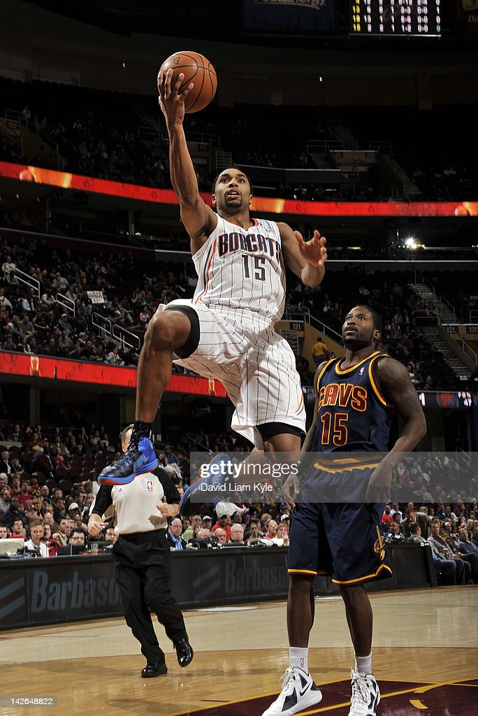 Gerald Henderson #15 of the Charlotte Bobcats flies in for the shot against <a gi-track='captionPersonalityLinkClicked' href=/galleries/search?phrase=Donald+Sloan&family=editorial&specificpeople=4185817 ng-click='$event.stopPropagation()'>Donald Sloan</a> #15 of the Cleveland Cavaliers at The Quicken Loans Arena on April 10, 2012 in Cleveland, Ohio.
