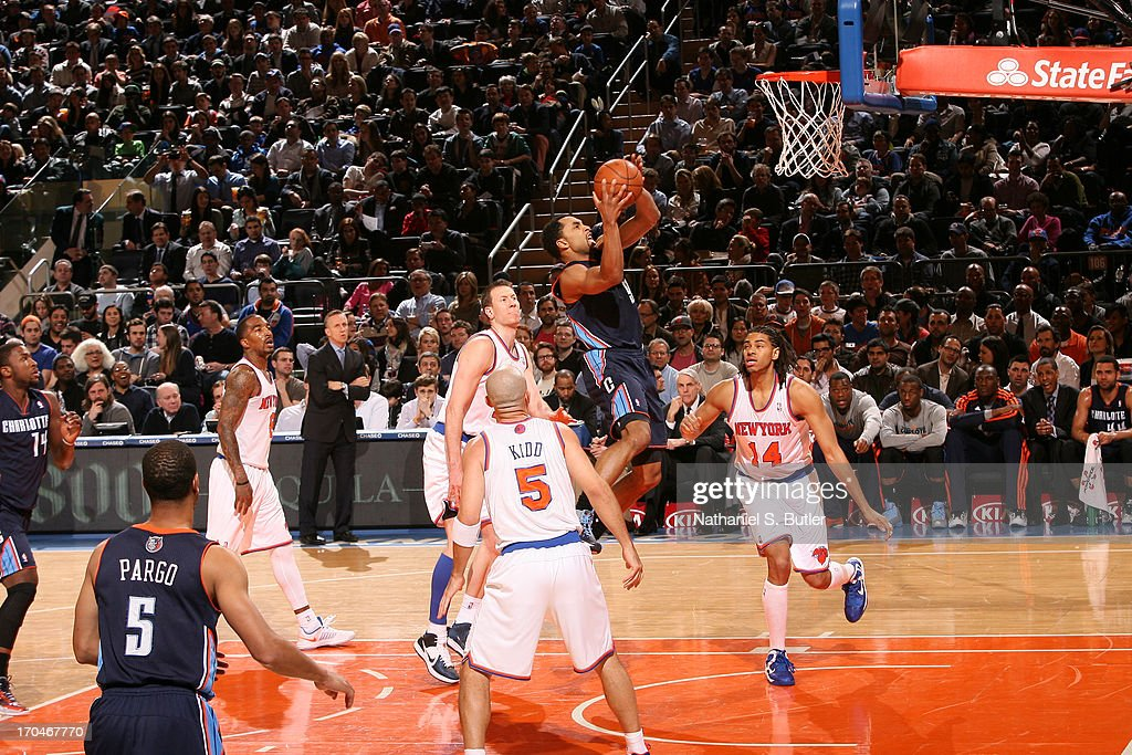 Gerald Henderson #9 of the Charlotte Bobcats goes to the basket against the New York Knicks on March 29, 2013 at Madison Square Garden in New York City.