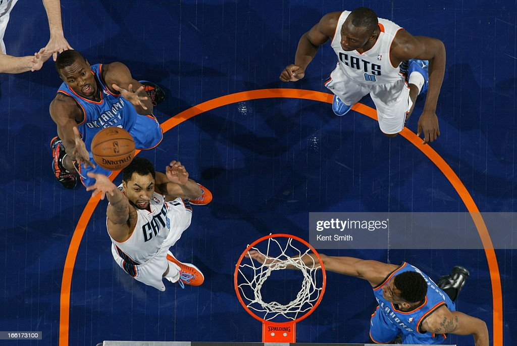 Gerald Henderson #9 of the Charlotte Bobcats goes up for a rebound against the Oklahoma City Thunder at the Time Warner Cable Arena on March 8, 2013 in Charlotte, North Carolina.
