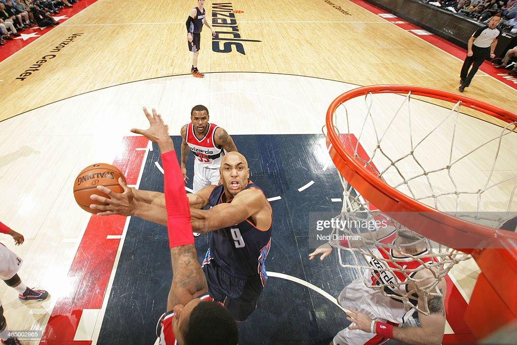 Gerald Henderson #9 of the Charlotte Bobcats goes up for a shot against the Washington Wizards at the Verizon Center on April 9, 2014 in Washington, DC.