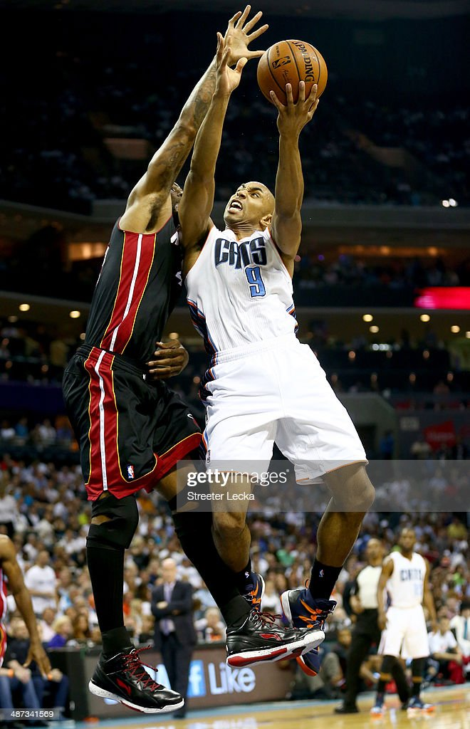 Gerald Henderson #9 of the Charlotte Bobcats in Game Four of the Eastern Conference Quarterfinals during the 2014 NBA Playoffs at Time Warner Cable Arena on April 28, 2014 in Charlotte, North Carolina.