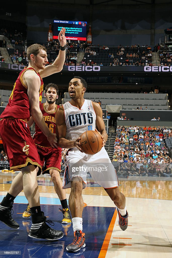 Gerald Henderson #9 of the Charlotte Bobcats of the Charlotte Bobcats drives to the basket against the Cleveland Cavaliers at the Time Warner Cable Arena on April 17, 2013 in Charlotte, North Carolina.