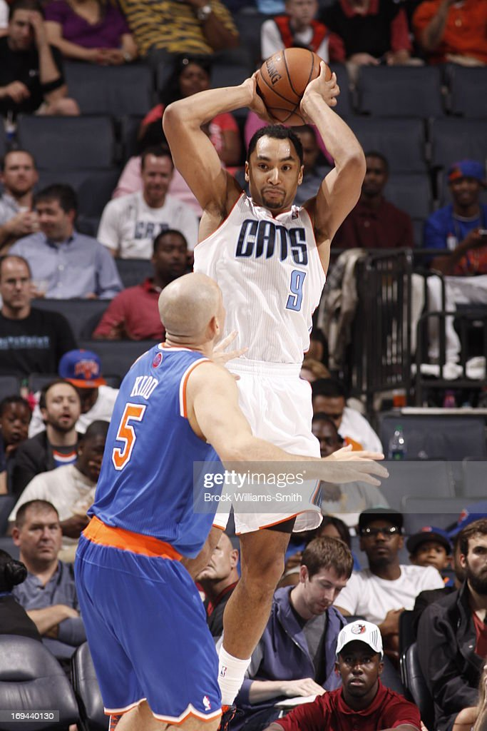 Gerald Henderson #9 of the Charlotte Bobcats passes the ball against the New York Knicks at the Time Warner Cable Arena on April 15, 2013 in Charlotte, North Carolina.