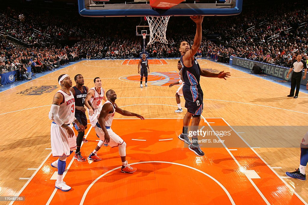 Gerald Henderson #9 of the Charlotte Bobcats shoots a layup against the New York Knicks on March 29, 2013 at Madison Square Garden in New York City.
