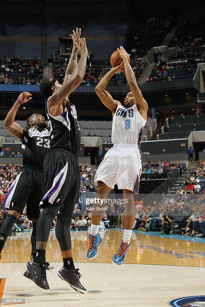 Gerald Henderson #9 of the Charlotte Bobcats shoots against the Sacramento Kings at the Time Warner Cable Arena on January 19, 2013 in Charlotte, North Carolina.