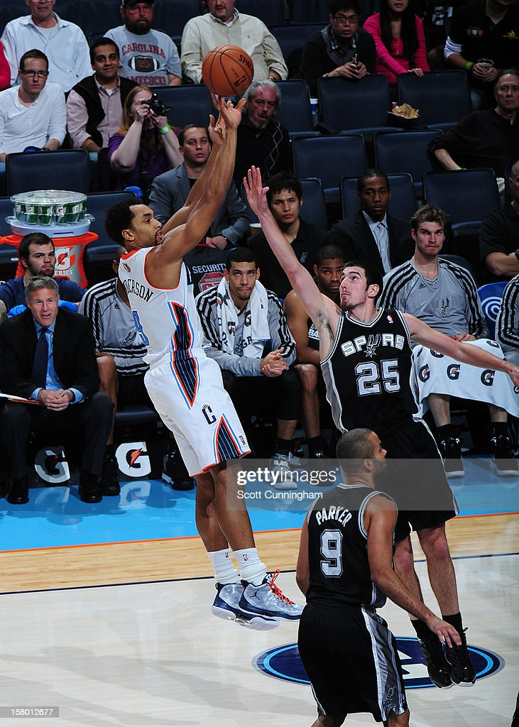 Gerald Henderson #9 of the Charlotte Bobcats takes a shot against of the San Antonio Spurs at Time Warner Cable Arena on December 8, 2012 in Charlotte, North Carolina.