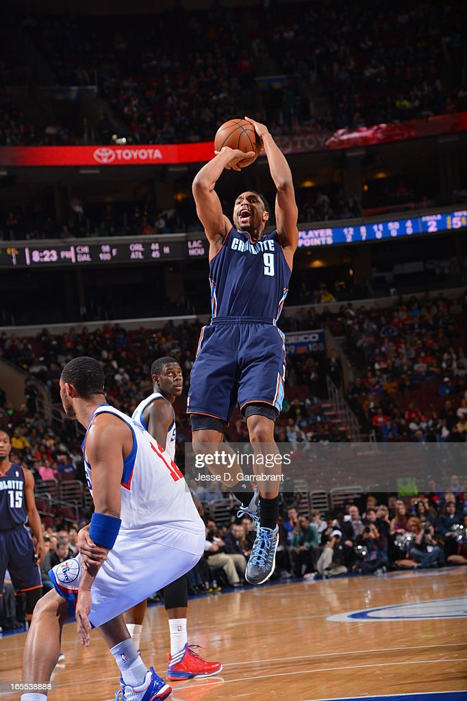 Gerald Henderson #9 of the Charlotte Bobcats takes a shot against the Philadelphia 76ers at the Wells Fargo Center on March 30, 2013 in Philadelphia, Pennsylvania.