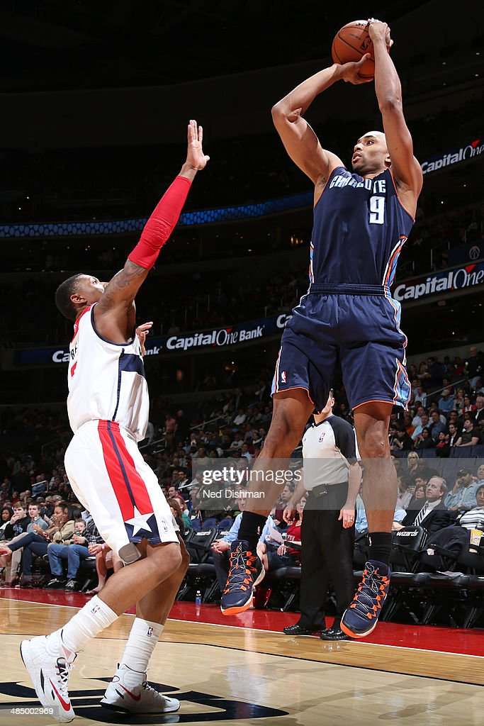 Gerald Henderson #9 of the Charlotte Bobcats takes a shot against the Washington Wizards at the Verizon Center on April 9, 2014 in Washington, DC.