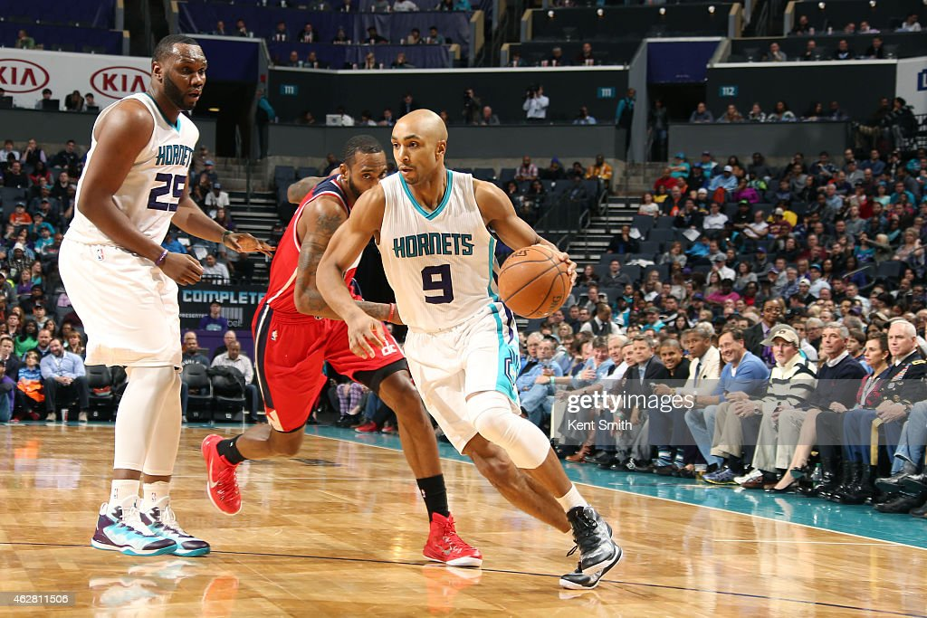 Gerald Henderson #9 of the Charlotte Hornets drives to the basket against the Washington Wizards during the game at the Time Warner Cable Arena on February 5, 2015 in Charlotte, North Carolina.