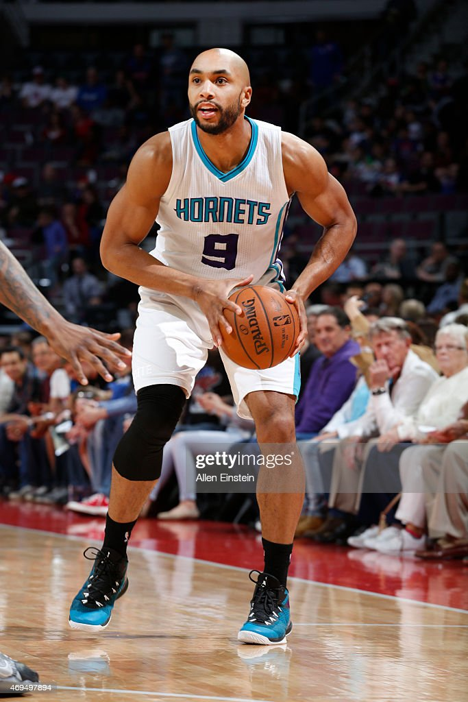 Gerald Henderson #9 of the Charlotte Hornets looks to move the ball against the Detroit Pistons during the game on April 12, 2015 at The Palace of Auburn in Detroit, Michigan.