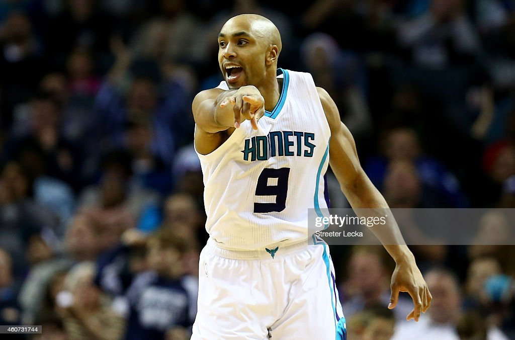 Gerald Henderson #9 of the Charlotte Hornets reacts after a basket during their game against the Utah Jazz at Time Warner Cable Arena on December 20, 2014 in Charlotte, North Carolina.