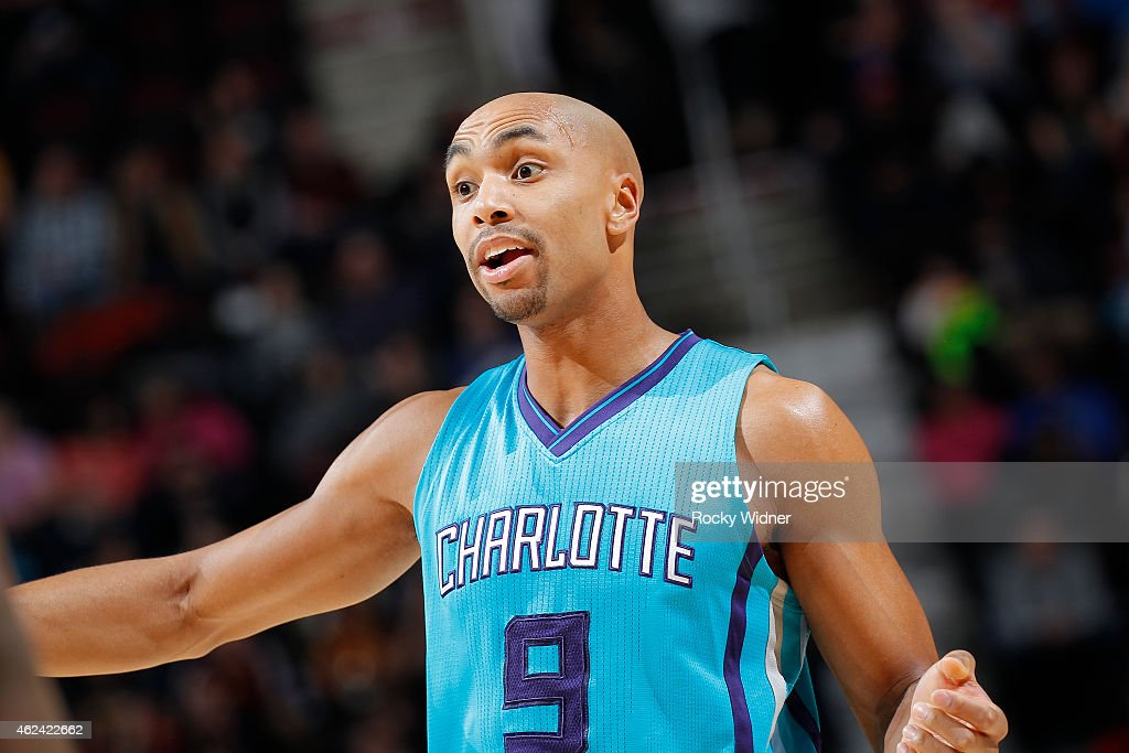 Gerald Henderson #9 of the Charlotte Hornets reacts during the game against the Cleveland Cavaliers on January 23, 2015 at Quicken Loans Arena in Cleveland, Ohio.