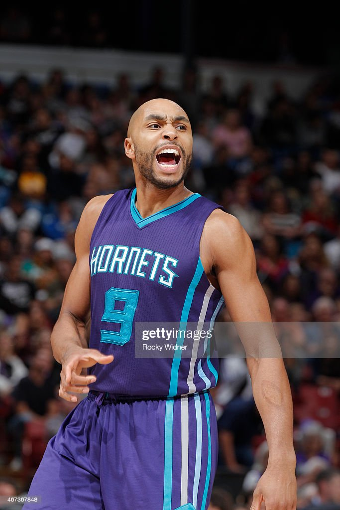 Gerald Henderson #9 of the Charlotte Hornets reacts during the game against the Sacramento Kings on March 20, 2015 at Sleep Train Arena in Sacramento, California.