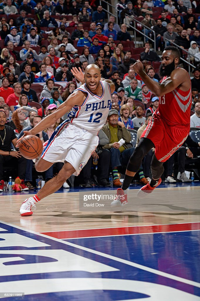 Gerald Henderson #12 of the Philadelphia 76ers drives to the basket against the Houston Rockets at Wells Fargo Center on January 27, 2017 in Philadelphia, Pennsylvania