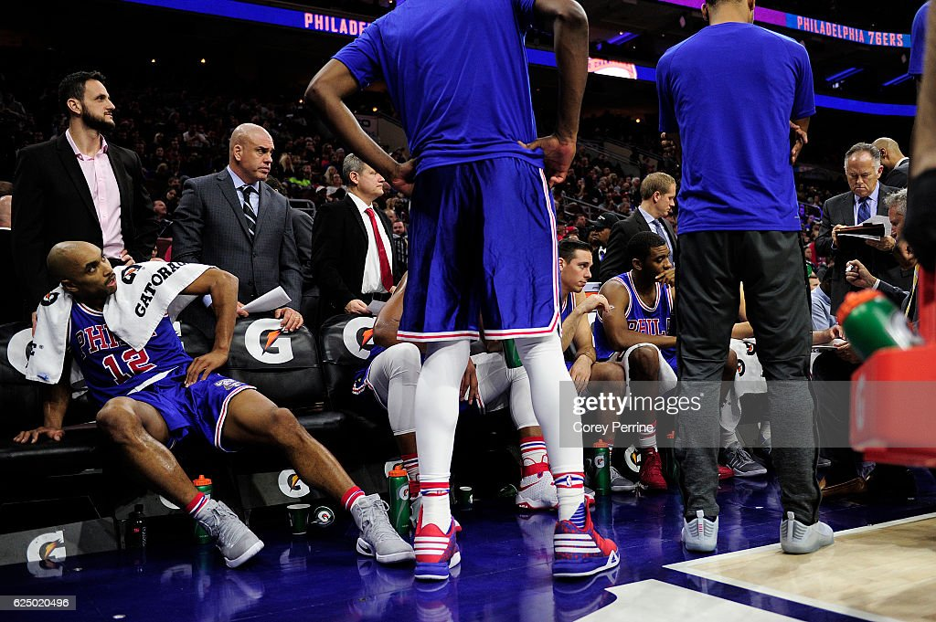 Gerald Henderson #12 of the Philadelphia 76ers massages his hip while listening during a timeout in third quarter at the Wells Fargo Center on November 19, 2016 in Philadelphia, Pennsylvania. The Philadelphia 76ers won 120-105.