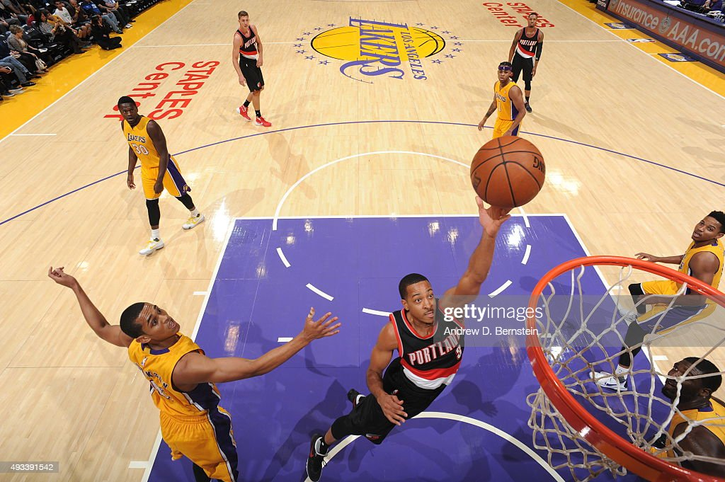 Gerald Henderson #9 of the Portland Trail Blazers goes for the layup against the Los Angeles Lakers during the preseason game on October 19, 2015 at STAPLES Center in Los Angeles, California.