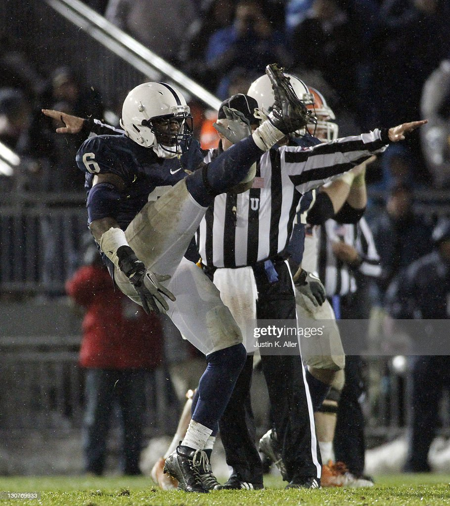 Gerald Hodges #6 of the Penn State Nittany Lions celebrates after breaking up a pass against the Illinois Fighting Illini during the game on October 29, 2011 at Beaver Stadium in State College, Pennsylvania. The Nittany Lions defeated the Fighting Illini 10-7.