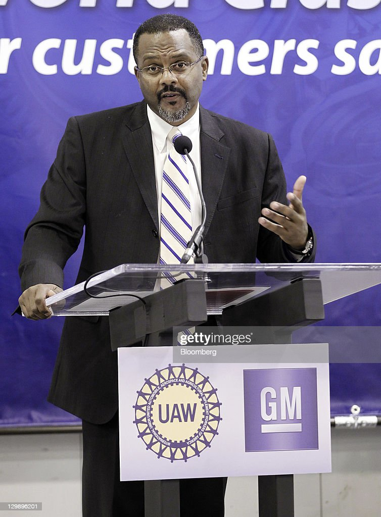 Gerald Johnson, manufacturing manager of General Motors Co. (GM), speaks during an event at the company's transmission plant in Warren, Michigan, U.S., on Friday, Oct. 21, 2011. General Motors said they will invest $325 million in tools and equipment to support production of future electric vehicle components, creating or retaining 418 jobs. Photographer: Jeff Kowalsky/Bloomberg via Getty Images
