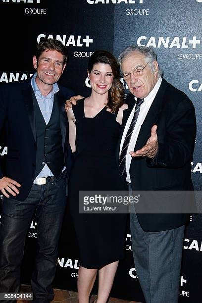 Gerald Kierzek Chloe Nabedian and Michel Chevalet attend the 'Canal Animators' Party At Manko on February 3 2016 in Paris France