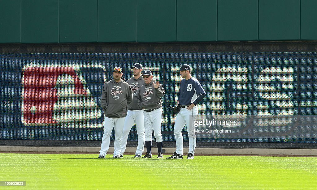 Gerald Laird #9, Rick Porcello #48, manager Jim Leyland #10, and Justin Verlander #35 (L-R) of the Detroit Tigers look on during warm ups prior to Game Four of the American League Championship Series against the New York Yankees at Comerica Park on October 18, 2012 in Detroit, Michigan. The Tigers defeated the Yankees 8-1 and now advance to the World Series.