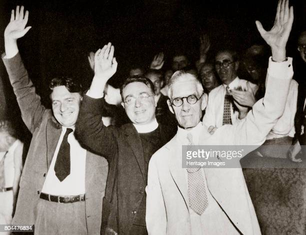 Gerald LK Smith with Dr Francis E Townsend flanking Father Charles Coughlin 1936 Left to right Gerald Lyman Kenneth Smith Father Charles Edward...