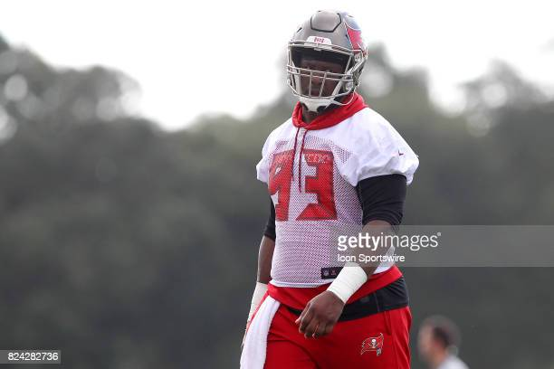 Gerald McCoy looks anger as the clouds are overhead during the Tampa Bay Buccaneers Training Camp on July 29 2017 at One Buccaneer Place in Tampa...