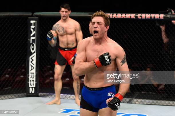 Gerald Meerschaert celebrates after submitting Ryan Janes of Canada in their middleweight fight during the UFC Fight Night event inside the...