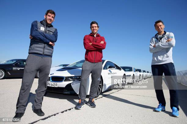 Gerald Melzer of Austria Mischa Zverev of Germany and Sergiy Stakhovsky of Ukrain arreve at the BMW DrivingExperience at BMW driving academy Maisach...